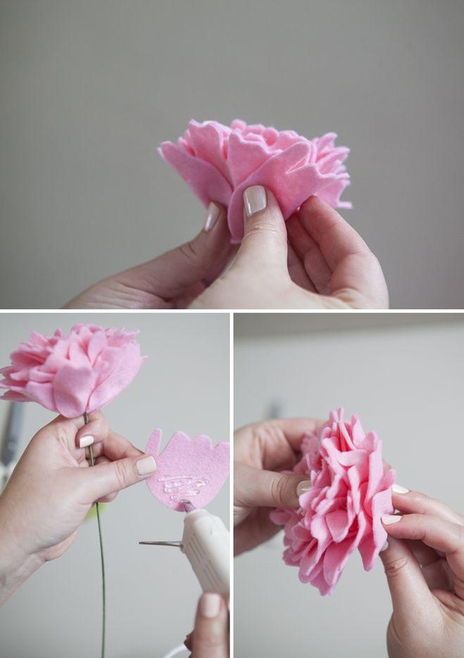 Как сделать букет из фетра своими руками поэтапно фото