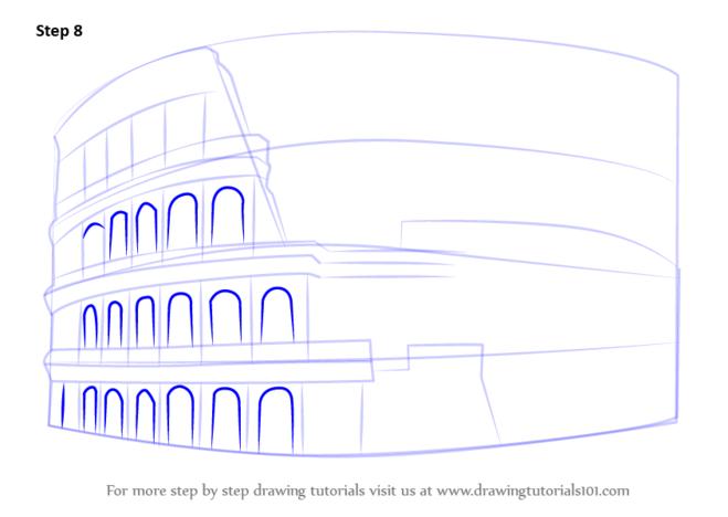 как нарисовать колизей7