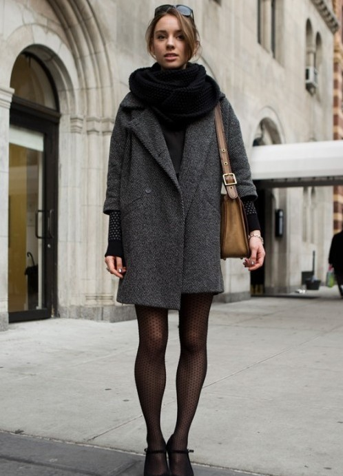 Темно серое пальто с чем носить