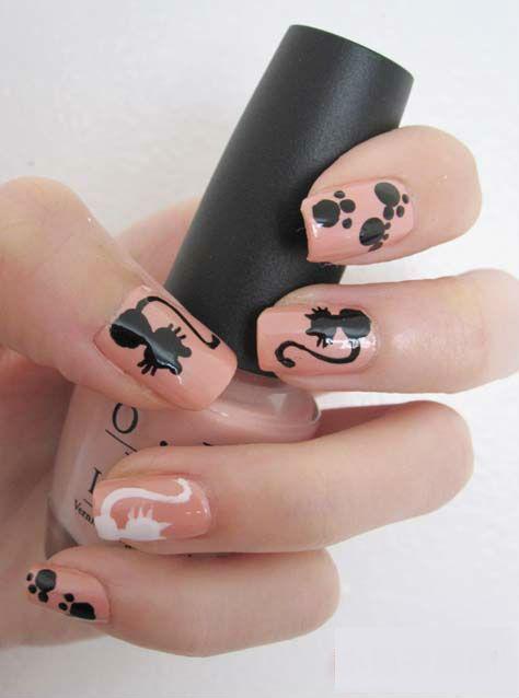 рисунок на ногтях силуэт кошки