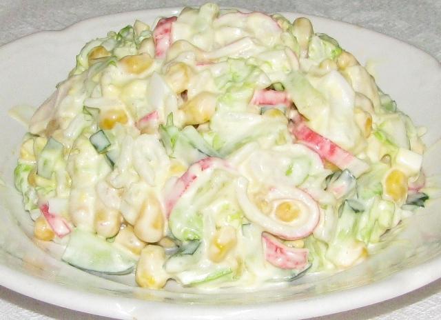 Рецепт салата из крабовых палочек с кукурузой и капустой