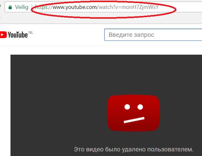 удалённое видео, YouTube