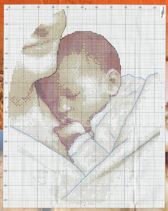 Монохромная схема вышивки младенца