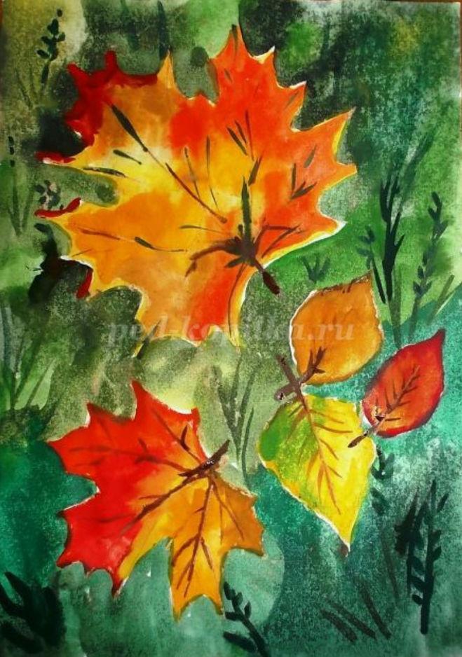 как нарисовать осенние листья поэтапно для детей 5-7 лет мастер-класс акварель