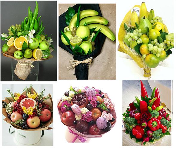 съедобный букет из фруктов, цитрусов своими руками на 8 марта