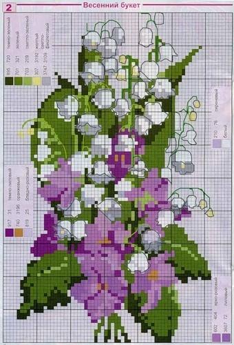 Схемы вышивки весенниех цветов
