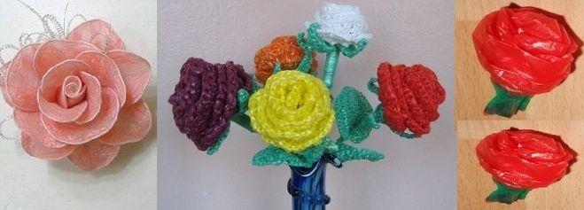 Как сделать розу из полиэтиленовых пакетов