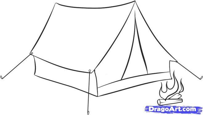 Как поэтапно нарисовать палатку карандашом