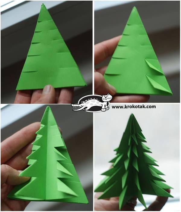 Как сделать красивую елку своими руками на бумаге Raskroyprestij.ru