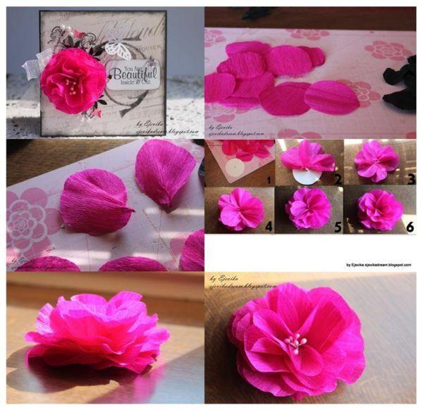 Как сделать объёмные цветы из гофрированной бумаги