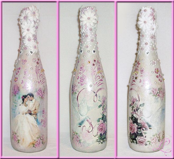 Декупаж бутылок для свадьбы