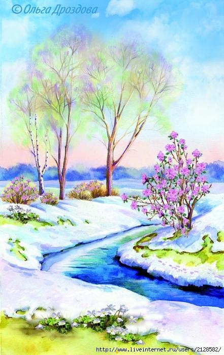 Картинки весны карандашом для начинающих поэтапно