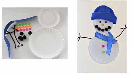 снеговик из бумажных тарелок
