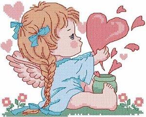 ангел с сердцем вышивка на день Святого Валентина