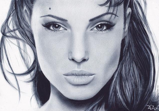 как нарисовать Анджелину Джоли