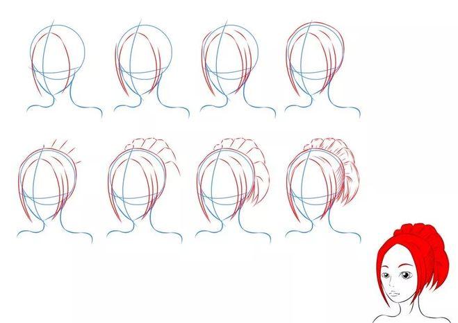 Как нарисовать красивую причёску поэтапно