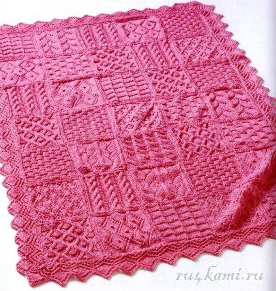 Вязаное одеяло для новорожденного своими руками спицами фото 391