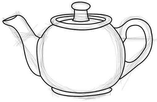 Поэтапное рисование чайника