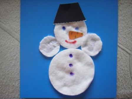 Снеговики из ватных дисков своими руками на