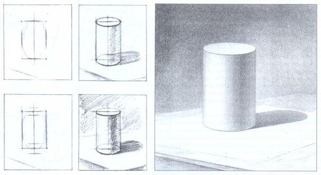 Рисунки карандашом цилиндра с тенью