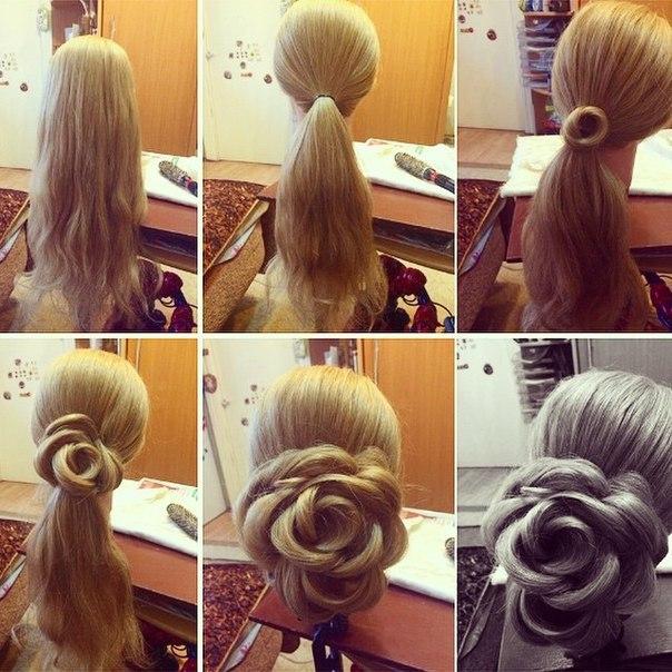 Роза из волос пошагово видео