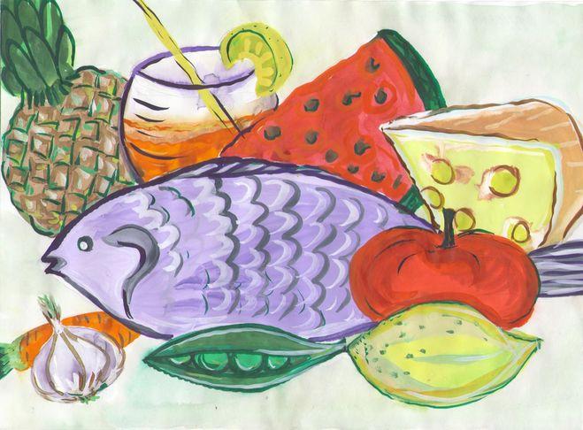 как нарисовать еду поэтапно