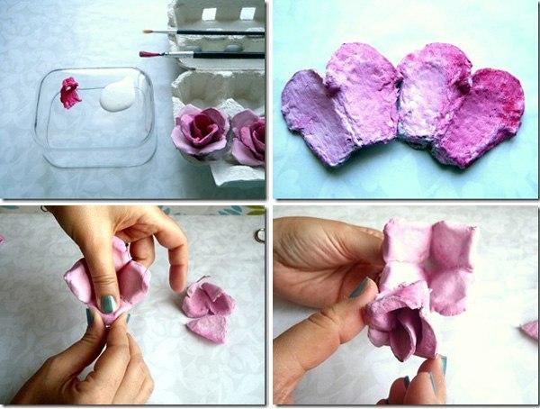объемный цветок из бумаги для аппликации своими руками из упаковки яиц