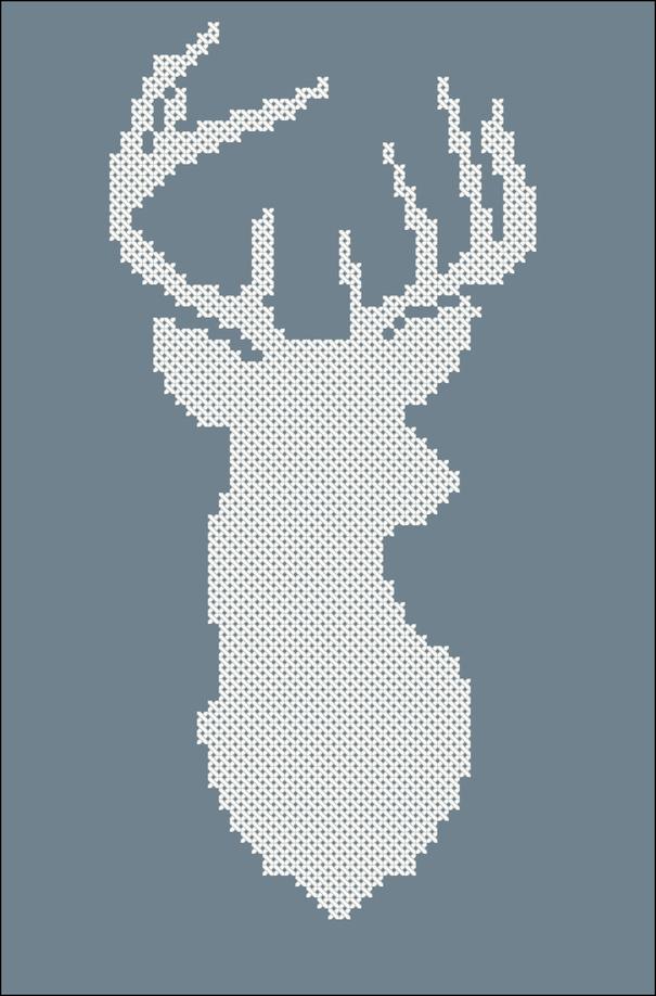Олень схема вышивки крестиком