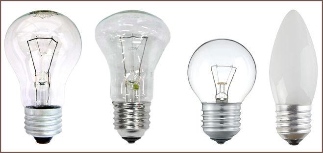 Четыре основных видов лампочек