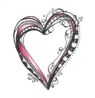 рисунок сердце в стиле зетанг