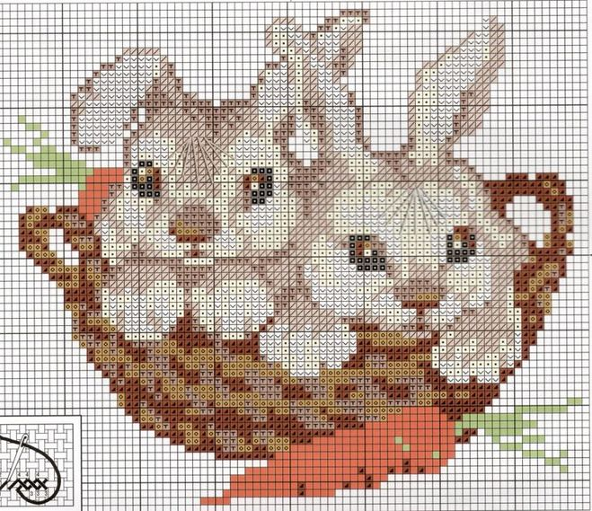 Вышивка крестом схема зайца 540