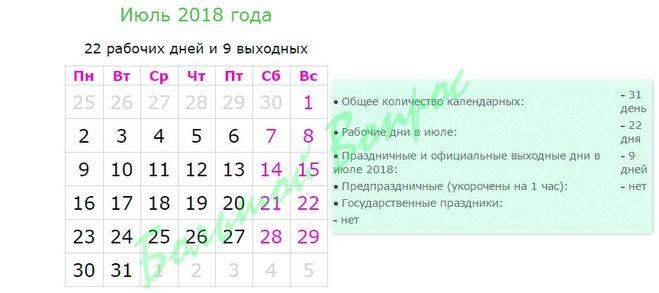 Сколько раб дней в июле 2018