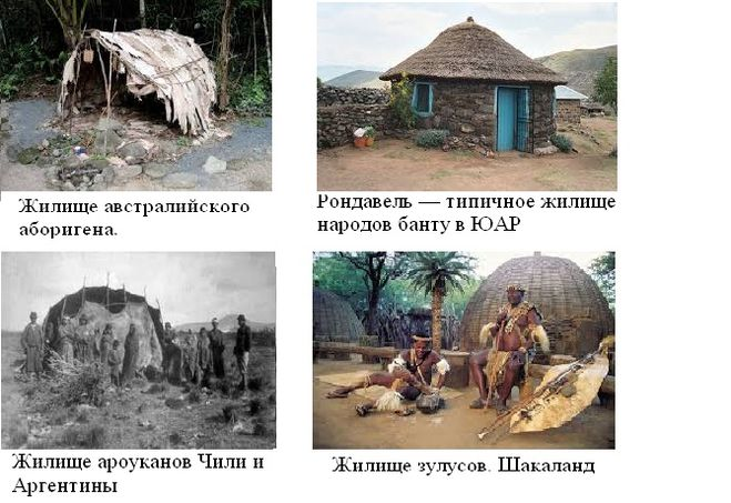 Жилище аборигенов Африки, Австралии и Южной Америки
