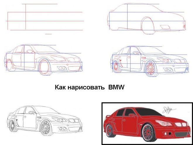 как нарисовать Bmw X5 - как