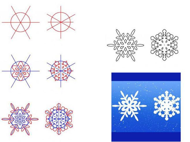 Рисуем снежинки пошаговое