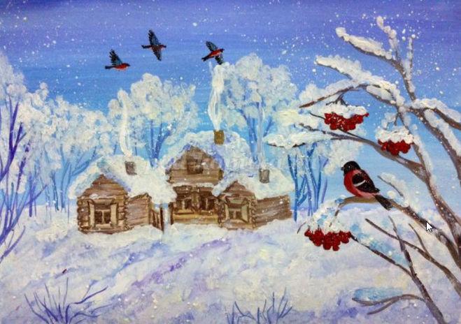 как нарисовать зимний день и снегирей поэтапно для детей - мастер класс