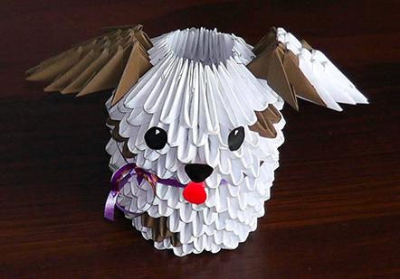 собака модульное оригами