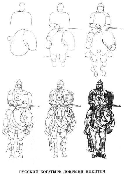 254Богатырь на коне на рисовать