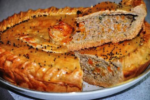 Тыквенный пирог с мясом