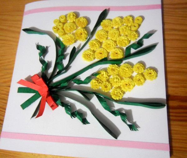 Как сделать открытку к 8 марта Как сделать открытку с мимозой вместе с ребёнком Как сделать объемную открытку 8 марта