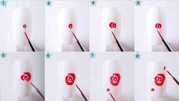 Роза как рисовать розу на ногтях