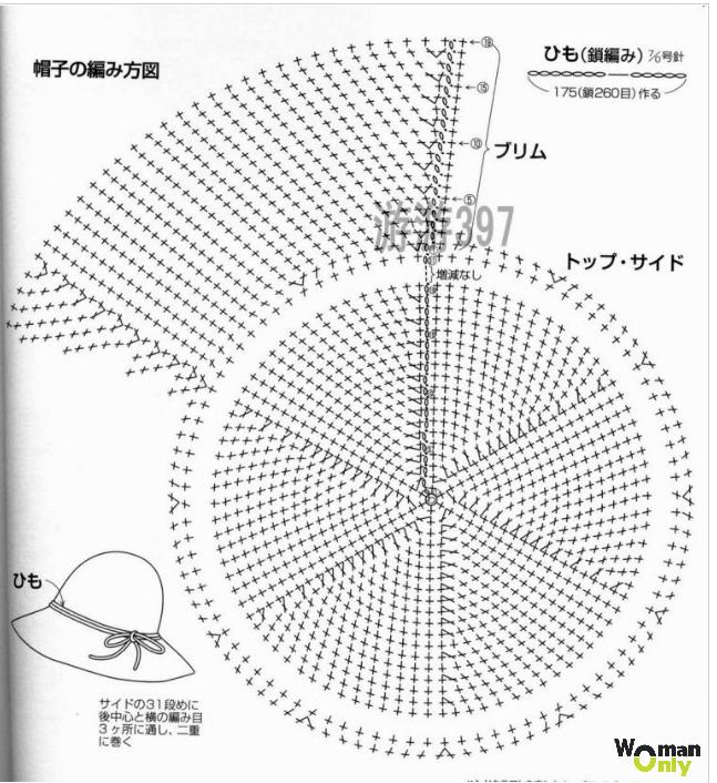 Схема вязания шляпки с полями 65