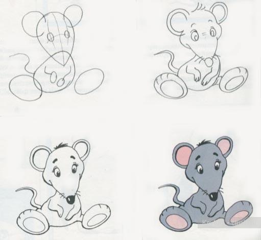 Схема рисования то ли мышонка,