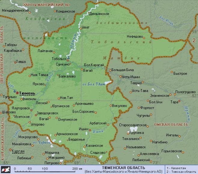 карту тюменская области