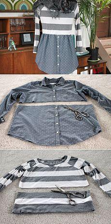 из мужской рубашки женская одежда