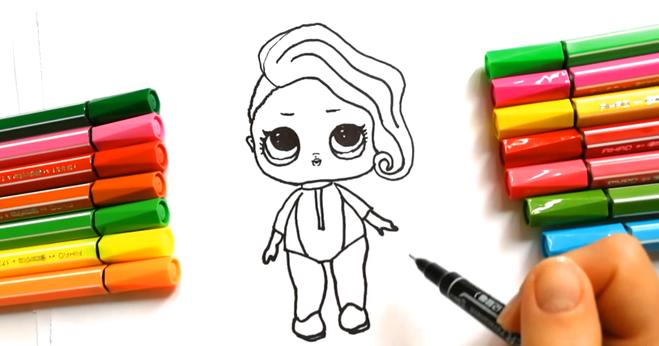 Нарисовать личико куколки LOL с большими красивыми глазами