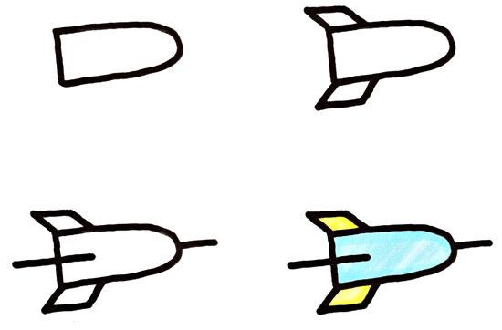Как нарисовать ракета карандашом поэтапно для детей