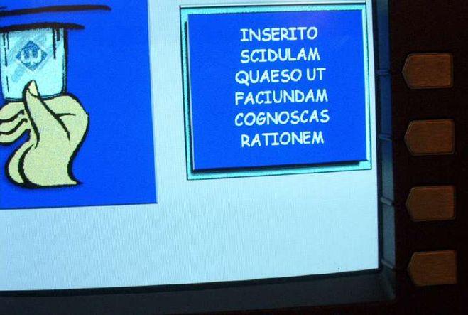 Банкомат с инструкцией на латыни