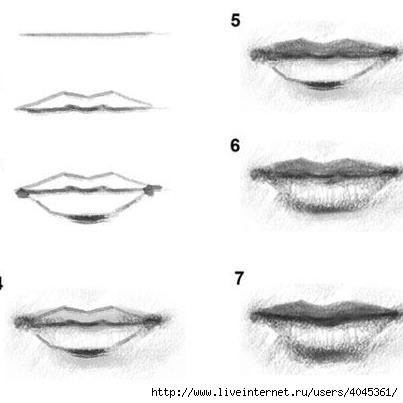 Как нарисовать губы которые целуются