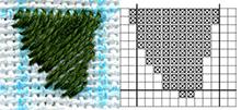 вышивка гладью на ткани стежками по диагонали